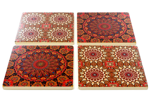 Adapted From Digital Kaleidoscope Graphics by Mitercraft - set of 4 or 6 wood coasters with optional holders - set #14