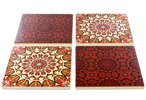 Adapted From Digital Kaleidoscope Graphics by Mitercraft - set of 4 or 6 wood coasters with optional holders - set #15