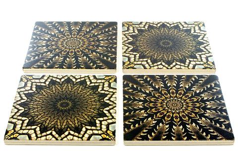 Adapted From Detail Photography of Reptiles by Mitercraft - set of 4 or 6 wood coasters with optional holders - set #18