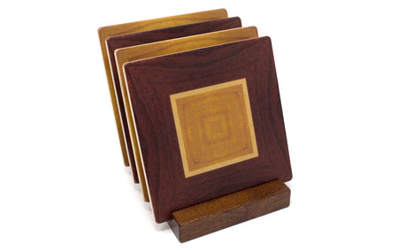 Adapted From Unique Woodworking Patterns by Mitercraft - set of 4 or 6 wood coasters with optional holders - set #01
