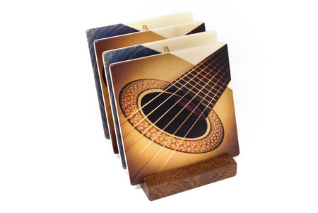 Adapted from an Acoustic Guitar Photo and Blue Note Artwork by Mitercraft - set of 4 or 6 wood coasters with optional holders - set #24