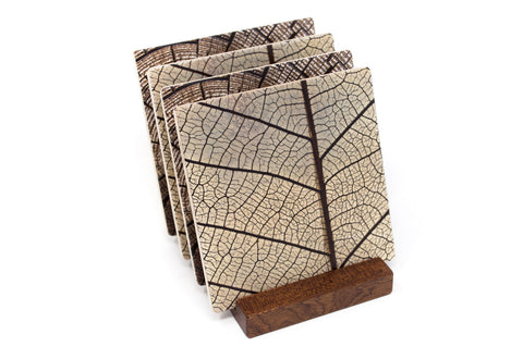 Adapted from Detail Photography of a Leaf and an Old Stump Round by Mitercraft - set of 4 or 6 wood coasters with optional holders - set #31