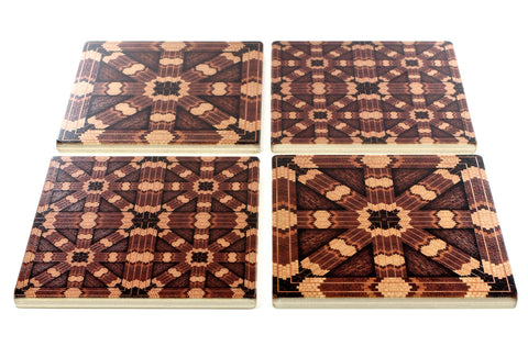 Adapted From Unique Woodworking Patterns by Mitercraft - set of 4 or 6 wood coasters with optional holders - set #04