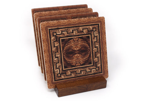 Adapted From Unique Woodworking Patterns by Mitercraft - set of 4 or 6 wood coasters with optional holders - set #05