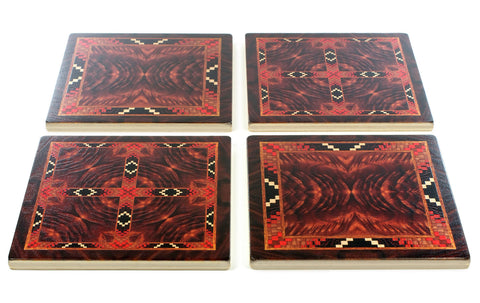 Adapted From Unique Woodworking Patterns by Mitercraft - set of 4 or 6 wood coasters with optional holders - set #06
