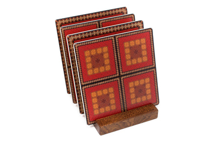 Adapted From Unique Woodworking Patterns by Mitercraft - set of 4 or 6 wood coasters with optional holders - set #07