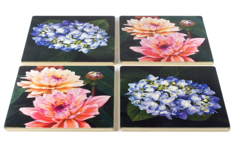 Floral Wood Coasters - From Original Painted Photography By Martha Everson - Set of 4 or 6 Wooden Coasters With Optional Holder