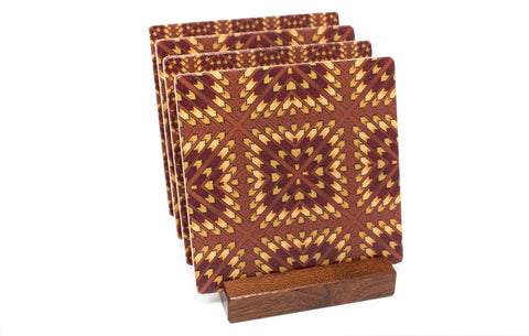 Adapted From Unique Woodworking Patterns by Mitercraft - set of 4 or 6 wood coasters with optional holders - set #08