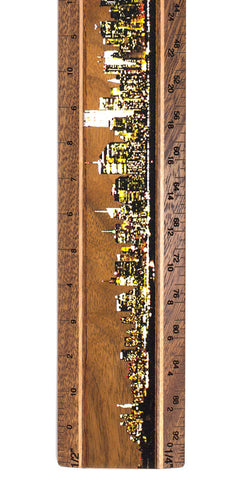"New York City Night Photograph 12"" Solid Wood Architectural Ruler"