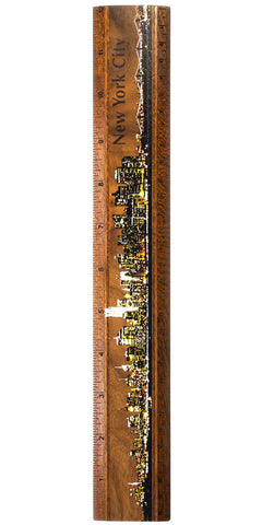 "New York City Night Photograph 12"" Solid Wood Ruler- Measures Inches & Centimeters"