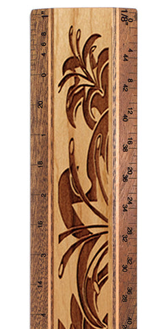 "Floral R328 12"" Solid Wood Architectural Ruler"