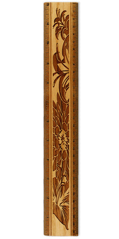 "Floral R328 12"" Solid Wood Ruler - Measures Inches & Centimeters"