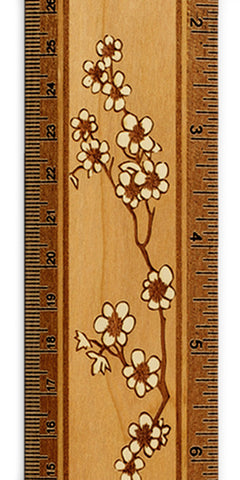 "Cherry Blossoms R329 12"" Solid Wood Ruler - Measures Inches & Centimeters"