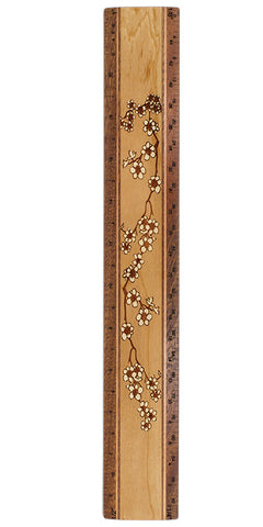 "Cherry Blossoms R329 12"" Solid Wood Architectural Ruler"