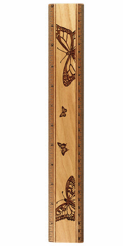 "Butterflies R330 12"" Solid Wood Ruler - Measures Inches & Centimeters"