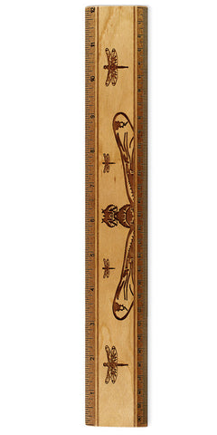 "Dragonflies R331 12"" Solid Wood Ruler - Measures Inches & Centimeters"