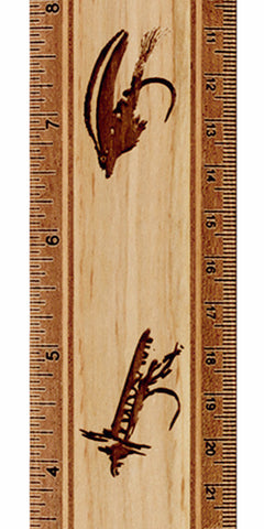 "Trout Flies R334 12"" Solid Wood Ruler - Measures Inches & Centimeters"