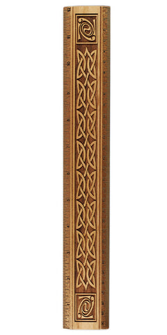 "Celtic Knot Design R337 12"" Solid Wood Ruler - Measures Inches & Centimeters"