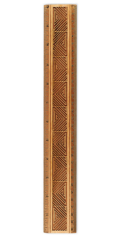 "Maze Design R338 12"" Solid Wood Ruler - Measures Inches & Centimeters"