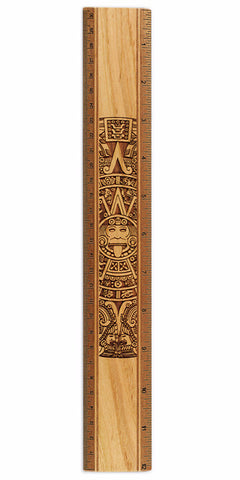 "Aztec Calendar R340 12"" Solid Wood Ruler - Measures Inches & Centimeters"