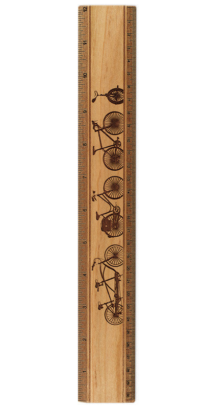 "Bikes R342 12"" Solid Wood Ruler - Measures Inches & Centimeters"