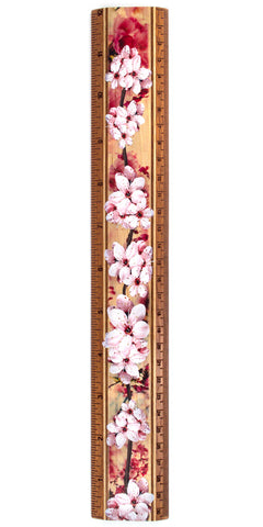"Cherry Blossoms 12"" Solid Maple Wood Ruler - Measures Inches & Centimeters"