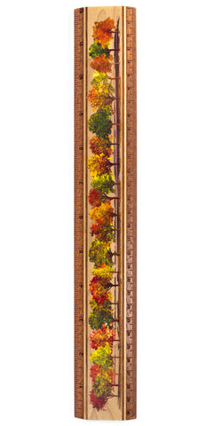 "Fall Trees Colorful 12"" Solid Maple Wood Ruler - Measures Inches & Centimeters"