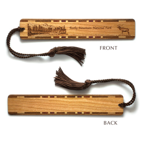 Rocky Mountain National Park Colorado Wooden Bookmark with Original Laser Engraving and Tassel