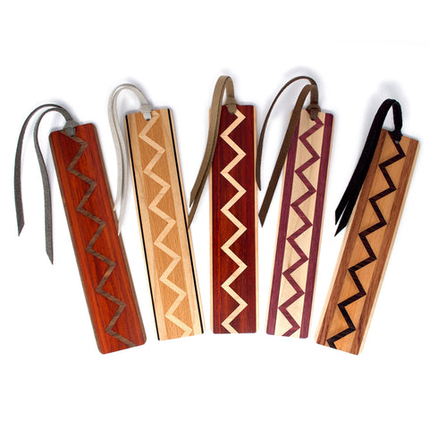 Set of five inlaid wooden bookmarks with black gift pouches and optional suede tassels - 602