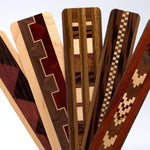 Set of five inlaid wooden bookmarks with black gift pouches and optional suede tassels - 604