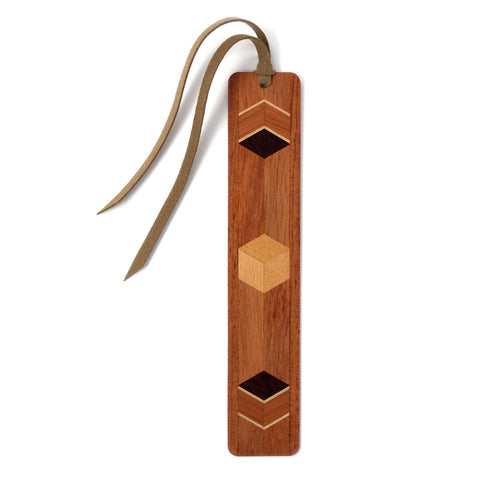 Inlay Design 01 Solid Wood Bookmark - Bubinga (rosewood), maple, wenge with gift pouch and optional suede tassel