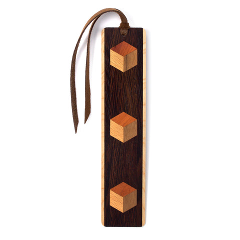 Inlay Design 06 Solid Wood Bookmark - wenge, maple, beech, walnut and cedar with gift pouch and optional suede tassel