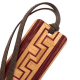 Inlay Design 07 Solid Wood Bookmark - maple and purpleheart with gift pouch and optional suede tassel