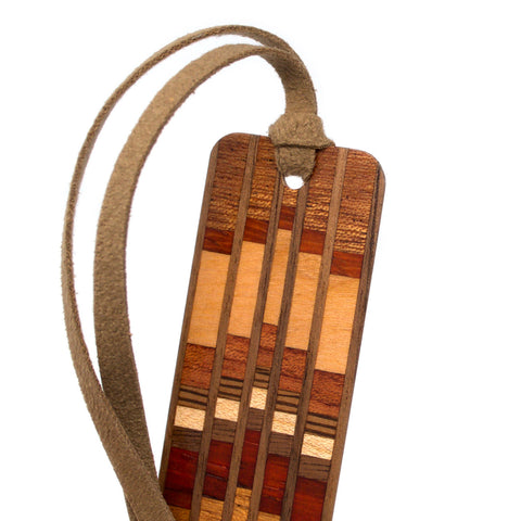 Inlay Design 08 Solid Wood Bookmark - made from walnut, sapele, cherry, maple, zebra wood and padouk with gift pouch and optional suede tassel