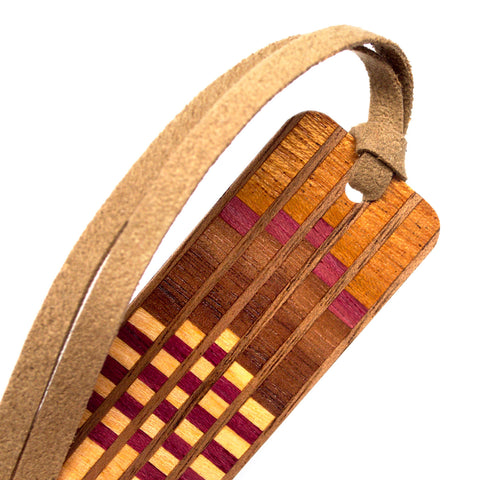 Inlay Design 09 Solid Wood Bookmark - made from sapele, purpleheart, walnut, maple and padouk with gift pouch and optional suede tassel