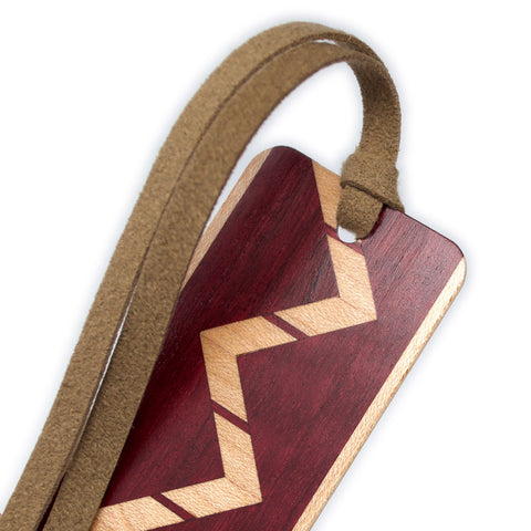 Inlay Design 10 Solid Wood Bookmark - made from purpleheart and maple with gift pouch and optional suede tassel