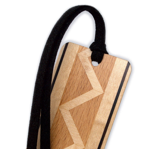 Inlay Design 12 Solid Wood Bookmark - made from maple, wenge and beech hardwoods with gift pouch and optional suede tassel