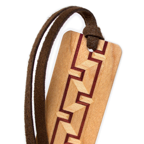 Inlay Design 13 Solid Wood Bookmark - made from maple and purpleheart hardwoods with gift pouch and optional suede tassel