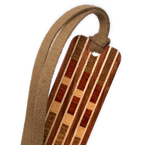 Inlay Design 14 Solid Wood Bookmark - Bubinga, Maple, Walnut, Padouk, Beech, Sapele and Wenge Hardwoods with Gift Pouch and Optional Suede Tassel