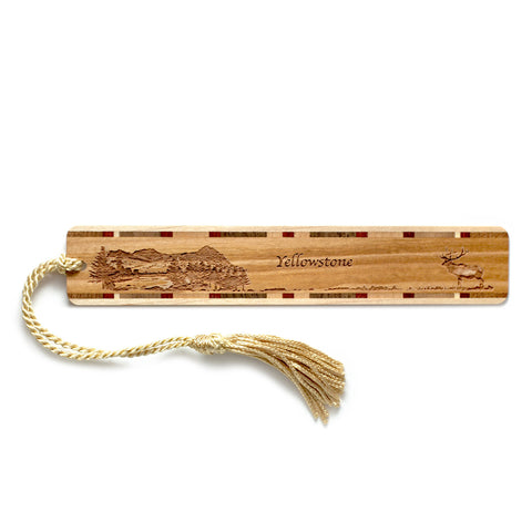 Yellowstone National Park Wyoming Wooden Bookmark with Original Laser Engraving and Tassel