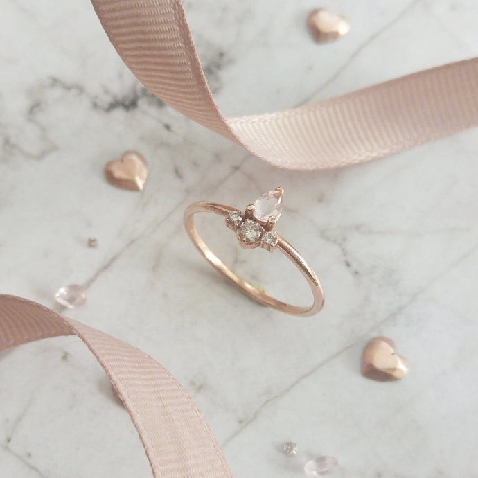 Dainty pear cut Morganite engagement ring