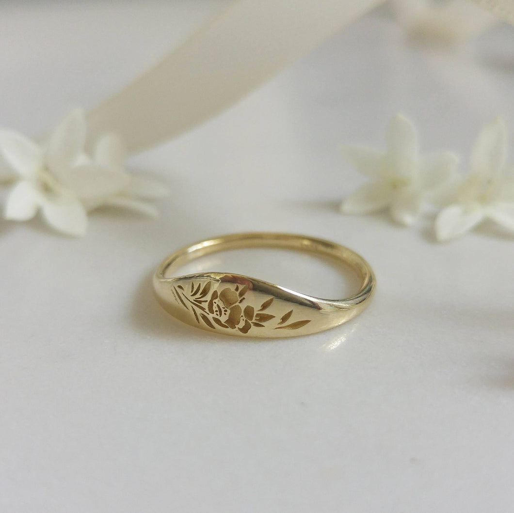 Floral signet ring, 14k gold floral wedding band