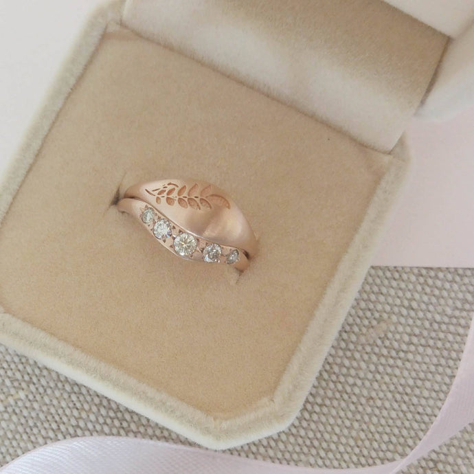 Vintage style Leaf wedding ring set