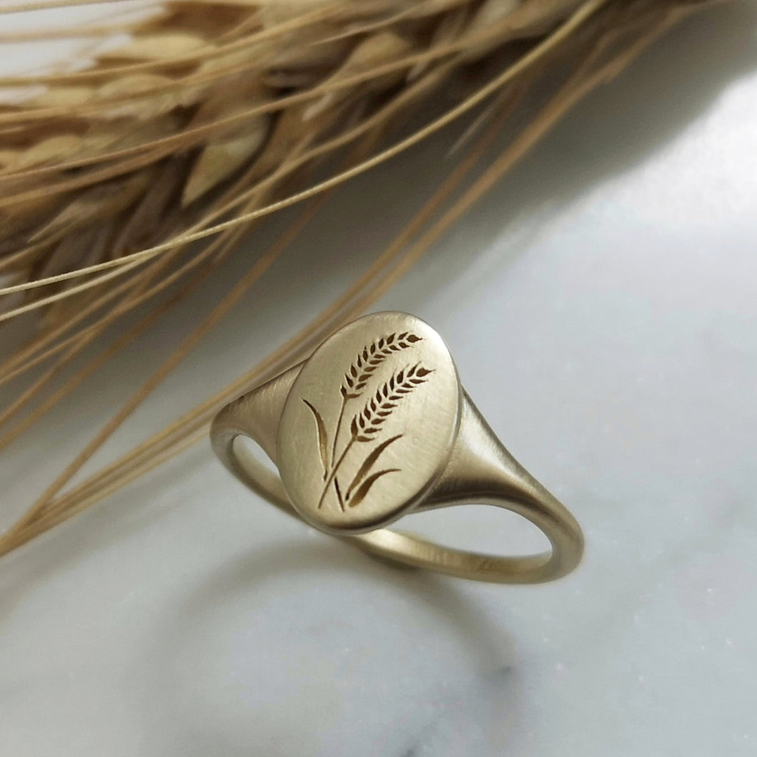 Wheat signet ring, 14k gold oval barley signet