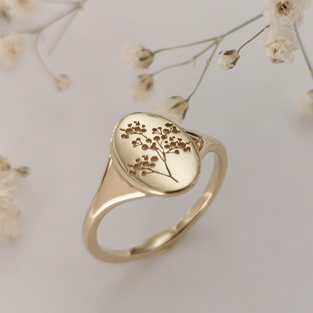 Baby's breath signet ring, 14k gold gypsophila ring