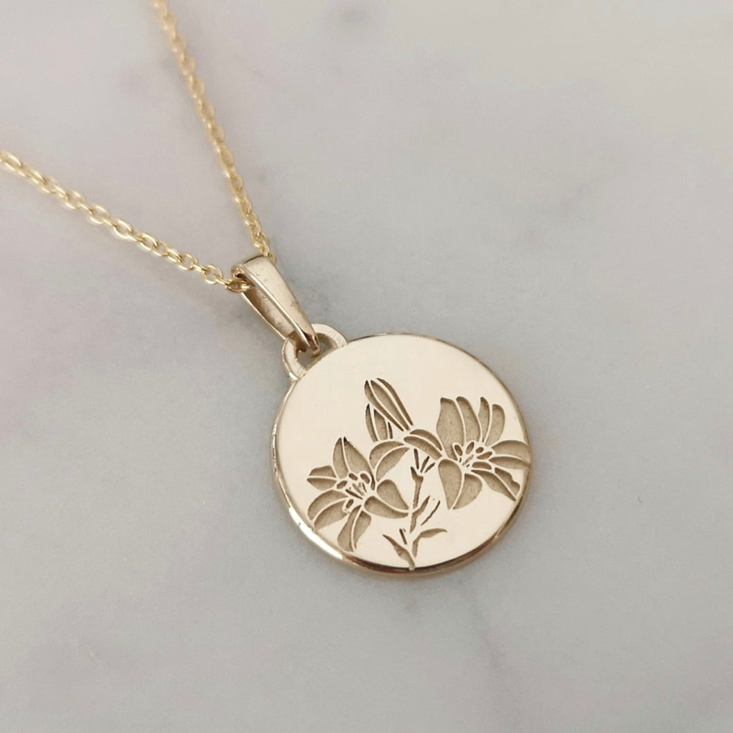 Lily flower necklace, 14k gold unique personalized pendant, engraved flower necklace , personalized Valentine's day gift