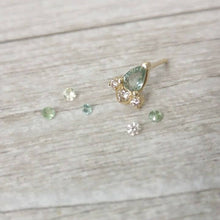 Green Sapphire and diamonds earrings, 14K gold stud earrings, sapphire earrings