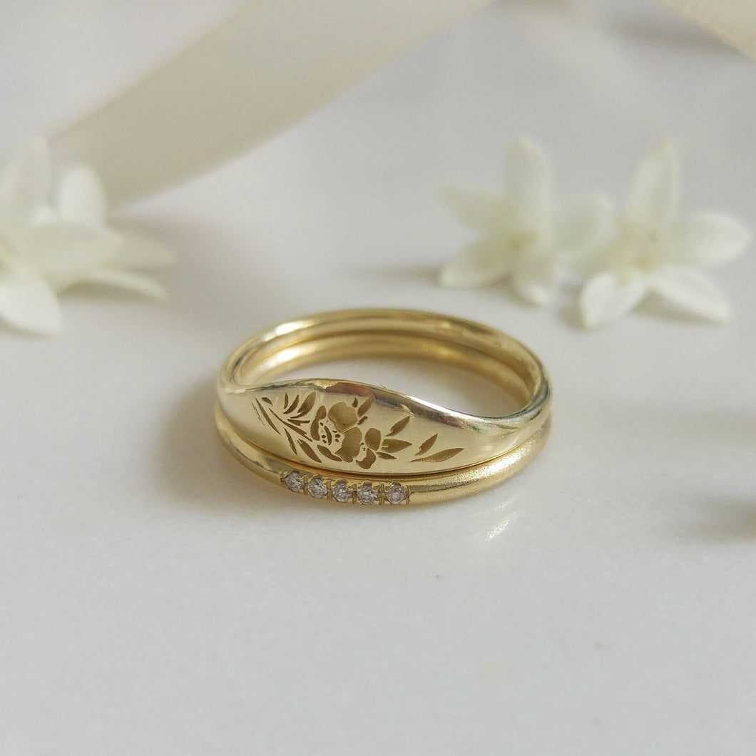 Floral wedding ring set, 14k gold vintage style floral ring set