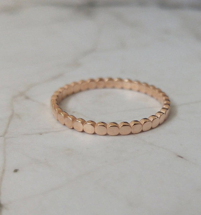 Delicate Rose gold wedding band, circles wedding band, beaded wedding ring, gold wedding band for women, thin gold ring, rose gold ring