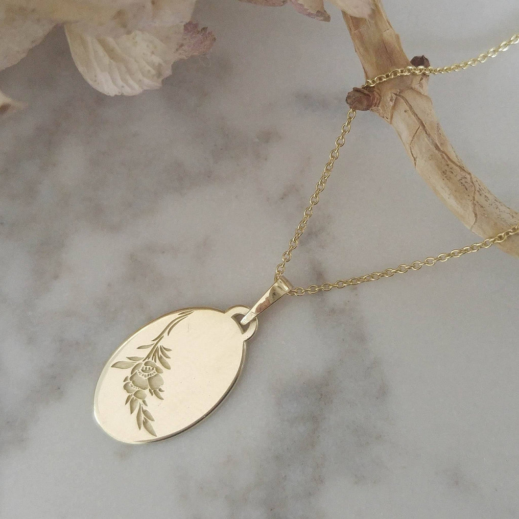14k gold flower necklace, vintage style oval pendant, unique personalized pendant, floral engraving necklace